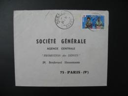 Enveloppe  Gabon 1971 Pour La Sté Générale Agence Centrale Promotion Des Dépôts en France Bd Haussmann Paris - Gabon (1960-...)