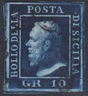 Sicilia, 10 Grana Indaco N.12b , Spl, Cv 800 - Sicilia