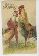 """Jolie Carte Fantaisie Gaufrée Avec Dorures Poule Et Coq De """"Joyeuses Pâques"""" (embossed Postcard) - Easter"""