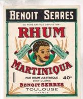 TRES BELLE ETIQUETTE MARTINIQUA / PUR RHUM MARTINIQUE / BENOIT SERRES TOULOUSE - Rhum