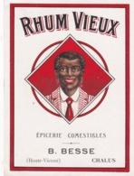 ETIQUETTE RHUM VIEUX / EPICERIE BESSE / CHALUS / HAUTE VIENNE - Rhum
