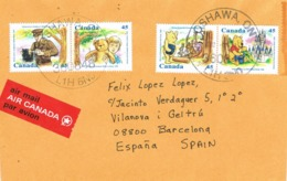 33875. Carta Aerea OSHAWA (Ontario) Canada 2002 To Vilanova I Geltru (barcelona). Ours WINNIE, Disney - 1952-.... Reinado De Elizabeth II