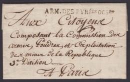"""FRANCE 16/05/1795 MARQUE D ARMEE """"ARM.DES PYRees OCles"""" VERS PARIS (DE) DC-4043 - Marcophilie (Lettres)"""