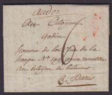 """FRANCE DATE DE PARIS 1796 VERS PARIS VERSO """"G"""" """"I4""""DANS UN CERCLE  (DE) DC-4054 - Poststempel (Briefe)"""