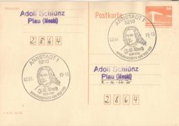 DDR Ganzsache Mit Sonderstempel Arnstadt J.S. Bach 1989 - [6] République Démocratique