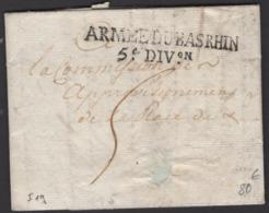 : Pli De 1794 En Port Du Avec Marque Linéaire : ARMEE DU BAS RHIN / ° DIVon > PARIS? - Marques D'armée (avant 1900)