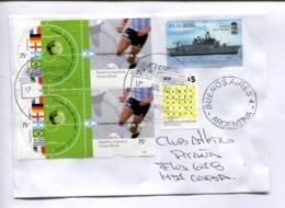 ENVELOPE CIRCULATED ARGENTINA 2014 WITH BLOCK DE QUATRE CAMPONES DEL MUNDO, FOOTBALL - ARA ROSALES, SHIP -LILHU - Coupe Du Monde