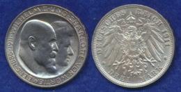 Württemberg 3 Mark 1911 Wilhelm II./Charlotte Ag900 - 2, 3 & 5 Mark Silber