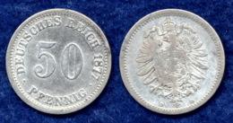 Deutsches Reich 50 Pfennig 1877D Kleiner Reichsadler Ag900 - 50 Pfennig