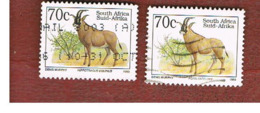 SUD AFRICA (SOUTH AFRICA) - SG 813.813c - 1993 ENDANGERED ANIMALS: ROAN ANTELOPE  (NAME IN  2 DIFFERENT LANGUAGE) - USED - Usati