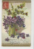 """FLEURS - Jolie Carte Fantaisie Gaufrée Avec Paillettes Fleurs Violettes """"Gage D'amitié """"(embossed Postcard) - Fleurs"""