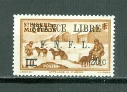 St Pierre & Miquelon 249 Overprint France Libre F N F L Surcharged 20c On 10c Dog Sled Team MNH 1942 Cat $14.50 A04s - St.Pierre & Miquelon