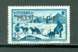 St Pierre & Miquelon 299 Overprint France Libre F N F L  Dog Sled Team MNH 1942 Cat $17.00 A04s - St.Pierre & Miquelon