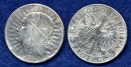 Polen 5 Zl. 1932 Frauenkopf Ag750 - Polen
