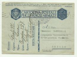 CARTOLINA FORZE ARMATE SPEDITA DA CIVITAVECCHIA A ORIOLO  1941 FG - War 1939-45