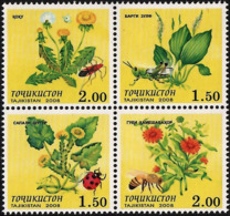 Tajikistan 2008 Set  4 V MNH Medical Plants Insects - Medicinal Plants