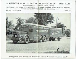 Publicité Avec Photo. Camion De Transport Gemmink, Den Haag. Truck. - Advertising