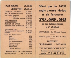 Petit Calendrier. Taxis Madou/Chien Vert. Woluwé-St.-Pierre. 1956. - Calendriers