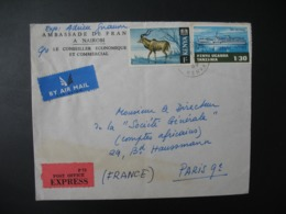Kenya   1969   Ambassade De France à Nairobi      Pour Sté Générale  En France Bd Haussmann Paris - Kenya (1963-...)