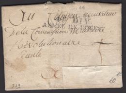 VENDEE :Pli De 1794 De MONTAIGU En Port Du Avec Marque 4e DIV ARMEE DE L'OUEST > ??? - Marques D'armée (avant 1900)
