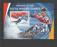 Olympische Spelen  2014 , Malediven - Blok Postfris - Winter 2014: Sochi