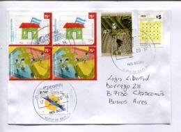 ENVELOPE CIRCULEE ARGENTINA 2014 WITH BLOCK DE QUATRE MI ESCUELA, UPAEP - BANCO INTERAMERICANO DE DESARROLLO -LILHU - Argentine