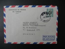 Turquie Lettre à Entête   Ambassade De France En Turquie     Pour Sté Générale  En France Bd Haussmann Paris - 1921-... République