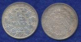 Deutsches Reich 1/2 Mark 1919J Reichsadler Ag900 - 1/2 Mark