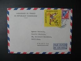 République Dominicaine  Lettre à Entête   Ambassade De France 1973   Pour Sté Générale  En France Bd Haussmann Paris - Dominicaine (République)