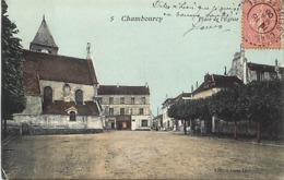 - Yvelines -ref-B726-  Chambourcy - Place De L Eglise - Petit Plan Boucherie Charchuterie - Magasins - - Chambourcy