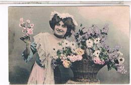 Fantaisie Femme Et Fleurs  1908                    FO41 - Fleurs