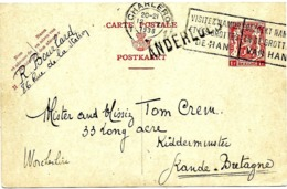 LE 0203. EP 115 CHARLEROI 1 - 12.X.1938 + GRIFFE ANDERLUES V. La Grande-Bretagne. TB - Marcophilie