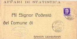 1945 Da Riposto A Santa Venerina Con Imperiale Da 50c PM  - Franc - Marcophilia