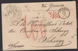 :Pli De 1857 De L'Intendance Générale De Suisse Port Du Avec CàDate GENOVA 9 M +Cachets De Taxe + VIA DI MARE  > SCHWYZ - Sicile