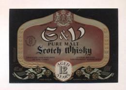 Etiquette De Scotch  Whisky  -  G Et V  -  Ecosse - Whisky