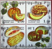 Tajikistan 2009 Set 4 V  MNH Melon Melons Fruits Fruit - Fruits