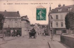CPA 78 LIMAY Entrée De LIMAY Vue Prise Sur Le Pont , Commerces Attelage - Limay