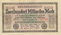 200 Milliarden Mark 1923 Nr. 118b KN 6-Stellig FZ RL - [ 3] 1918-1933 : Weimar Republic