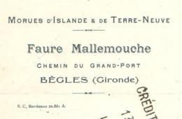 FAURE & MALLEMOUCHE   Morues D'Islande & Terre Neuve   BEGLES  33 - Lettres De Change