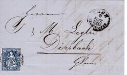1863 Brief  Von Thun Nach Diesbach. Zu: 31 / Mi: 23 - Lettres & Documents