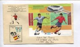 FEUILLET PHILAKOREA 2002 - ARGENTINA '78 ESPAÑA '82. FUTBOL FOOTBALL - ARGENTINA ENVELOPE CIRCULEE 2011 -LILHU - Football