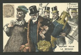 """Cachet """" VERSAILLES CONGRES 1906 """" Carte Satirique Politique / Président LOUBET...départ Pour LA BEGUDE - 1877-1920: Période Semi Moderne"""