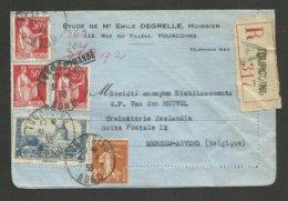 Paix - Semeuse & Moulin Daudet / Recommandé TOURCOING 31.03.1938 >>> La BELGIQUE - Marcophilie (Lettres)