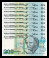 Brasil Brazil Lot Bundle 10 Banknotes 200 Cruzeiros 1990 Pick 229 SC UNC - Brasil