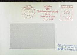 """DDR: 2 Briefe 20/15 Pf DP 8900 Görlitz VEB Kondensatorenwerk """"Wilhelm Pieck"""" Mit AFS In Rot Und Violett - Unzulässig! - Dienstzegels"""