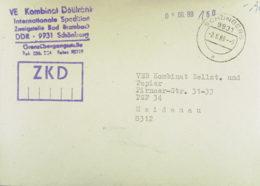 DDR: ZKD-Fern-Brf Mit ZKD-K-St. In Violett Abs.-Gummist. Grenzübergangsstelle OSt. Schönberg 2.6.89 Nach Heidenau - [6] Democratic Republic