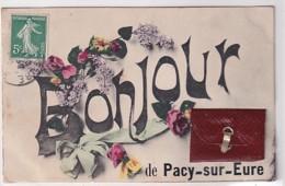 UN BONJOUR DE PACY SUR EURE      CARTE A SYSTEME COMPLETE - Pacy-sur-Eure