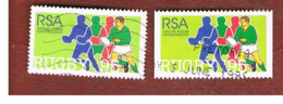 SUD AFRICA (SOUTH AFRICA) - SG 875.875a - 1995  WORLD CUP RUGBY: 2 DIFFERENT PERFORATIONS    - USED - Usati