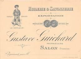 """BOUCHES DU RHONE  13  SALON DE PROVENCE  CARTON PUBLICITAIRE  """"HUILERIE ET SAVONNERIE GUICHARD"""" - Salon De Provence"""