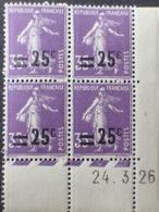 R1615/958 - 1926 - TYPE SEMEUSE - BLOC N°218 TIMBRES NEUFS** CdF Daté - Coins Datés